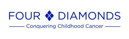 The logo for Four Diamonds includes the organization's name with a diamond made up of four smaller diamonds between the two words. The phrase Conquering Childhood Cancer appears below.